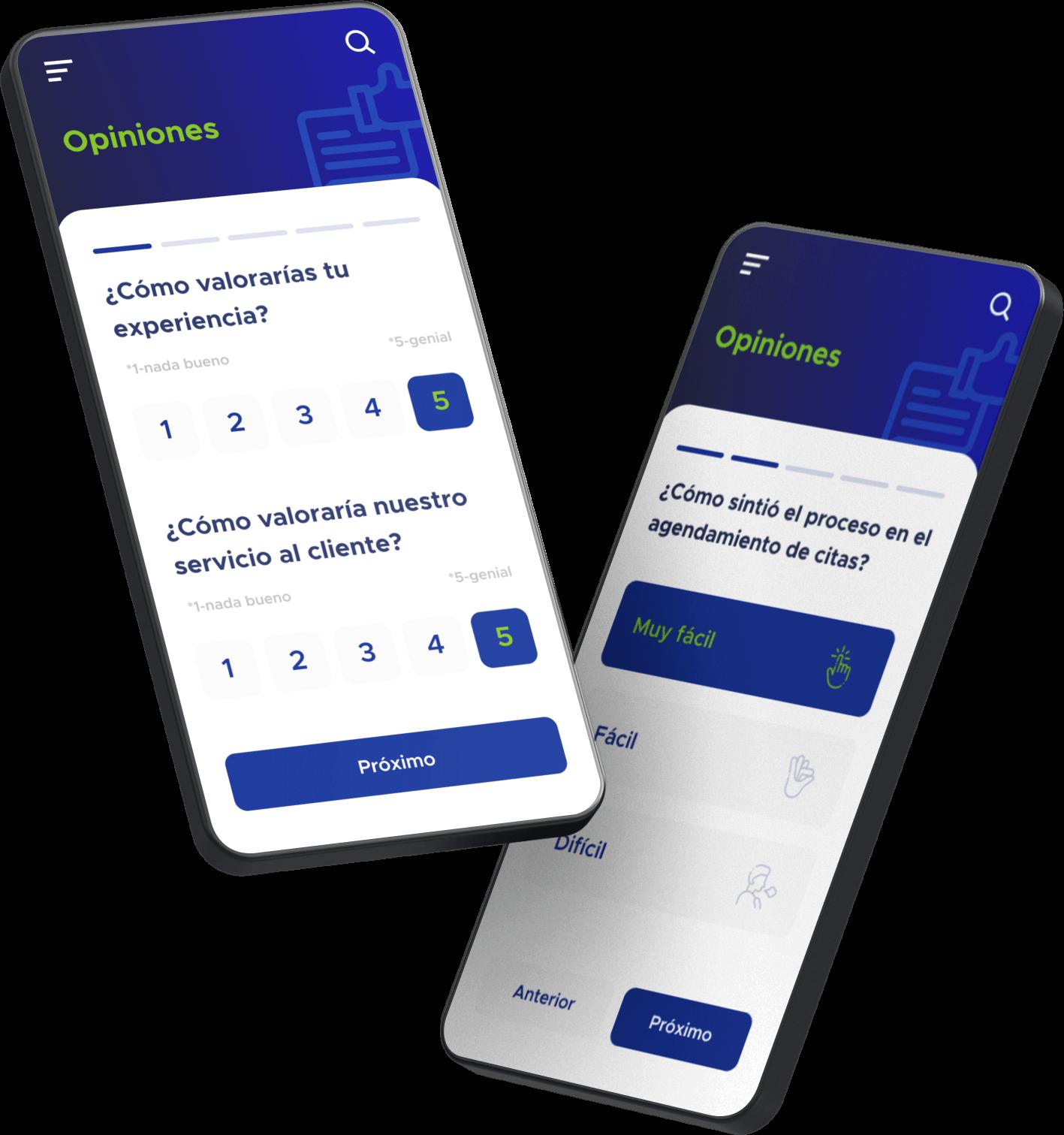 Pantalla de solución móvil de encuestas realizadas con el software de ACF Technologies