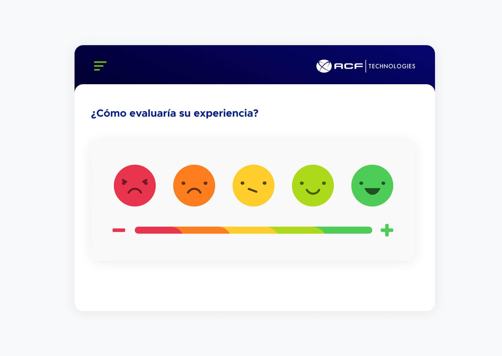 Pantalla de evaluación de experiencia con iconos de caritas desde enojado hasta feliz