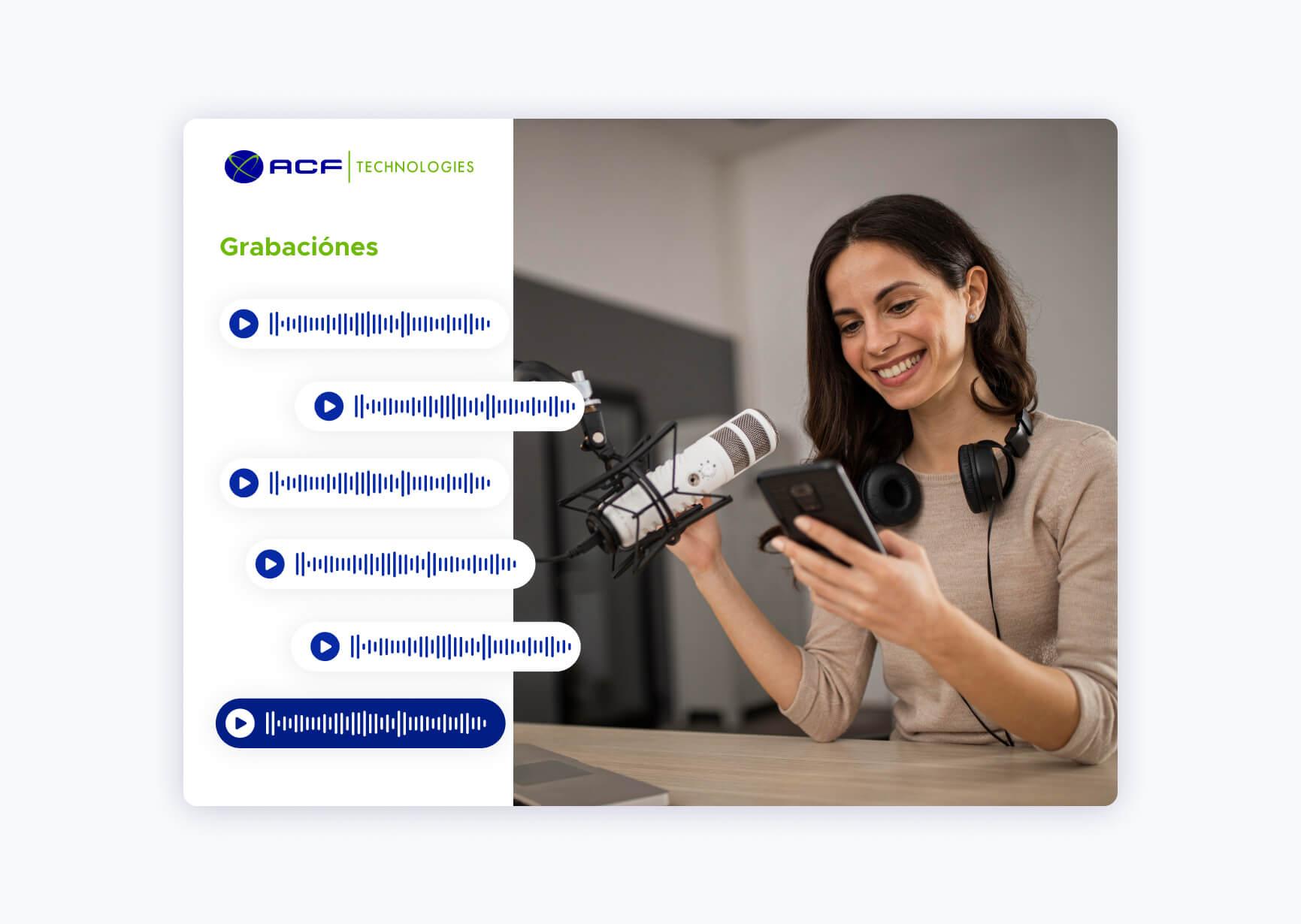 Pantalla de software de gestión de grabación de ACF Technologies