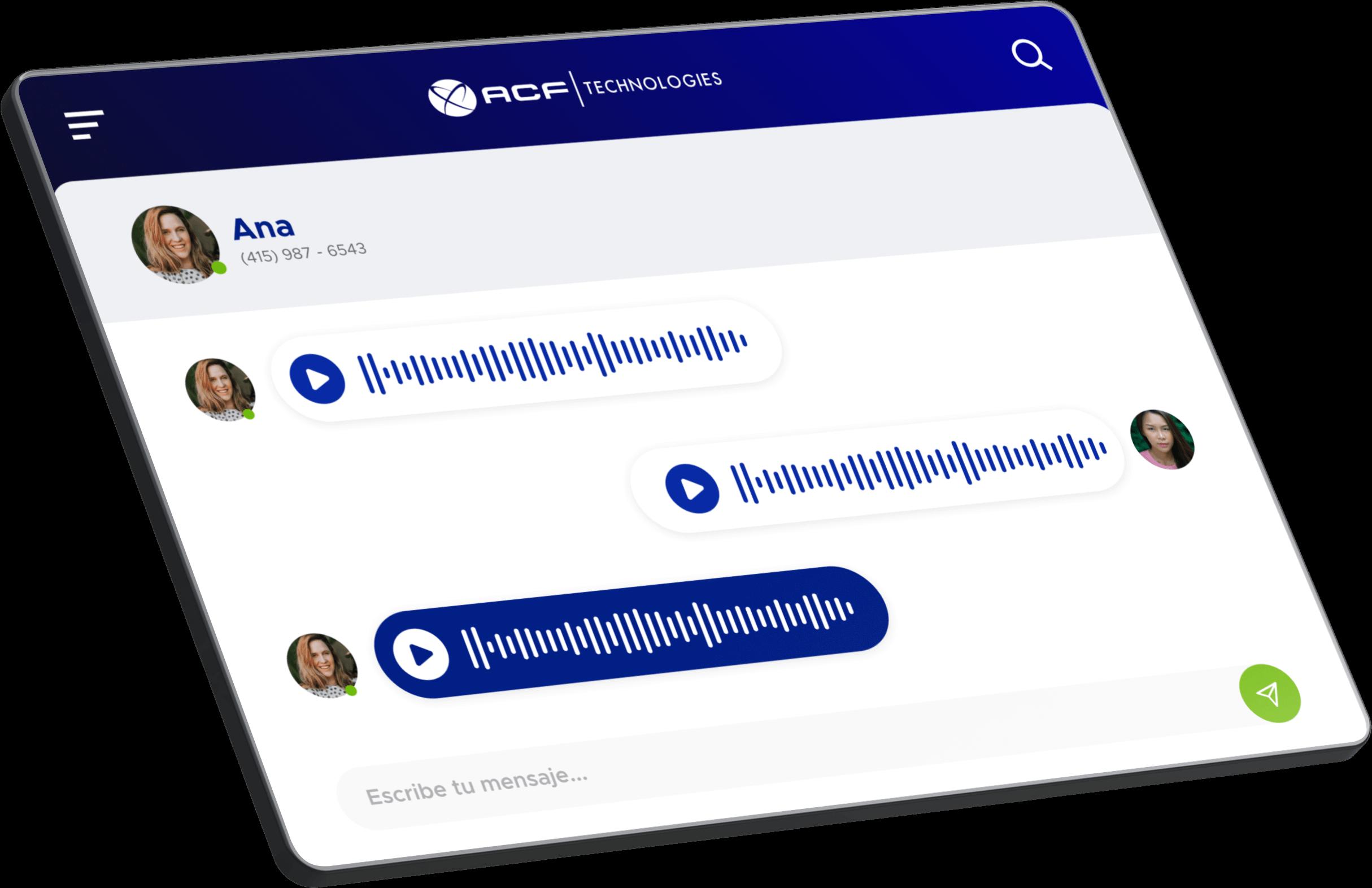 Pantalla de solución de gestión de grabación de ACF Technologies