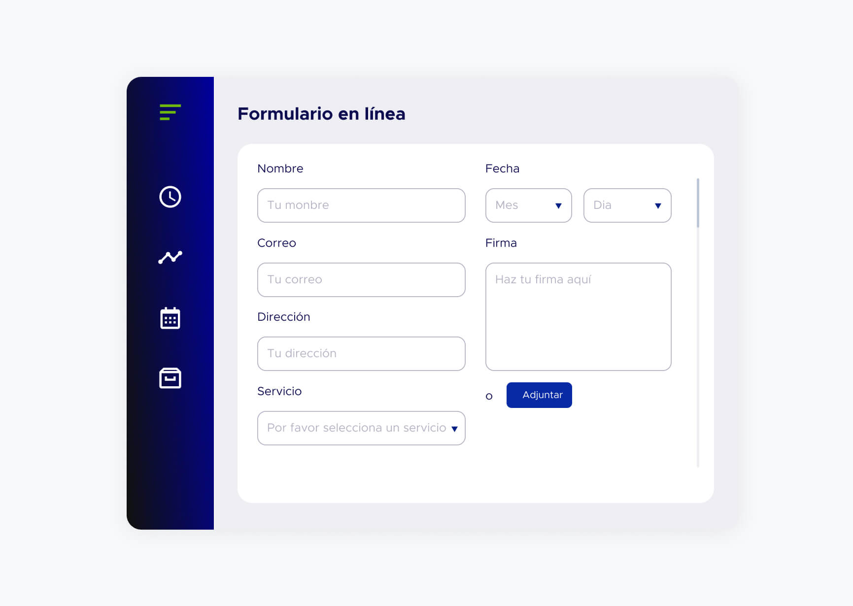 Pantalla de aplicación formulario en línea de ACF Technologies