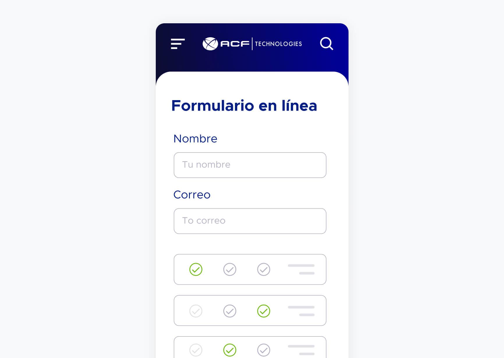 Pantalla móvil de solución formulario en línea de ACF Technologies